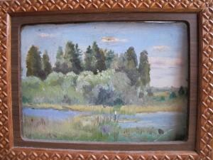 Этюд  Черново. Озеро ,картон 20х15 1963г.