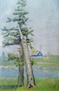 Этюд.Окраина поселка Черново, Ленинградска обл.1960г.