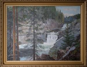 Карелия .Водопад Кивач ,  холст,  масло, размер80х60