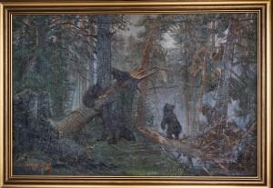 Копия картины Шишкина Утро в сосновом лесу ,холст,масло