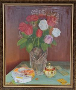 Розы в хрустальной вазе, холст, масло,  60Х50, 2008г.