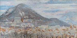 Железноводск.Первый снег.,холст,масло.45х22,1997г.