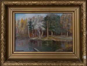 Дворцовое озеро,холст.масло,30х20 1991г..